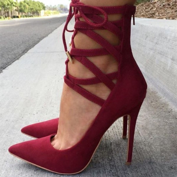 Red Strappy Heels Pointy Toe Lace up Suede Pumps Stiletto Heels image 1