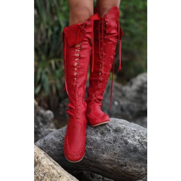 Women's Red Gladiator Boots Strappy Flat Knee-high Lace Up Boots image 3