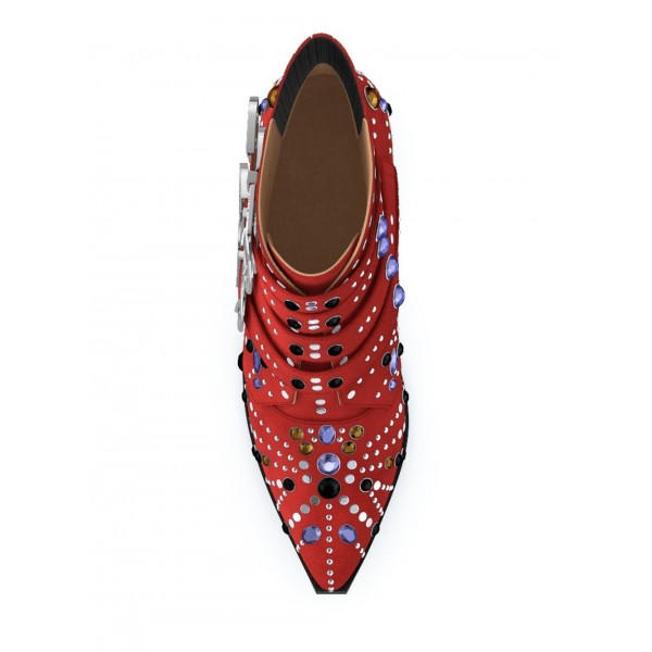 Red Motorcycle Boots Pointy Toe Chunky Heel Rhinestone Short Boots image 2