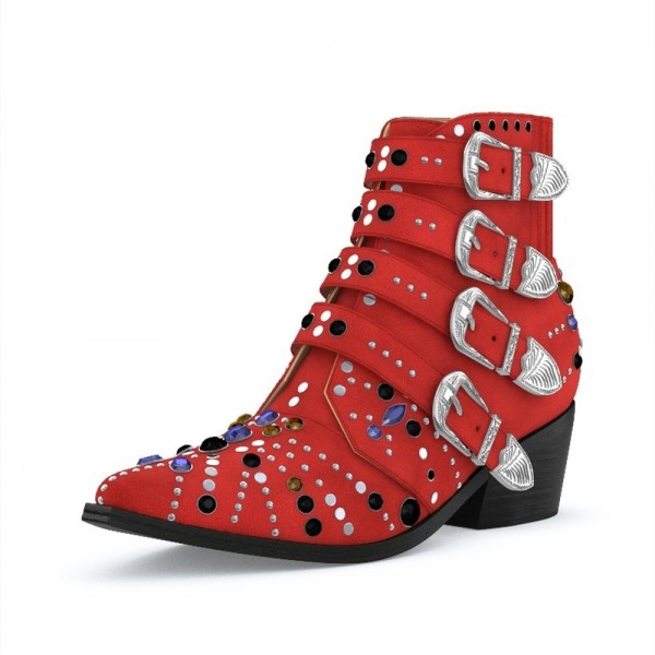 Red Motorcycle Boots Pointy Toe Chunky Heel Rhinestone Short Boots image 1