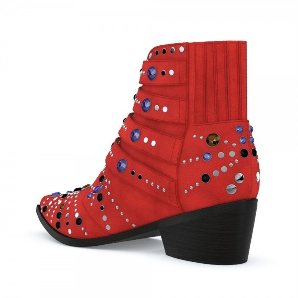 Red Motorcycle Boots Pointy Toe Chunky Heel Rhinestone Short Boots image 4