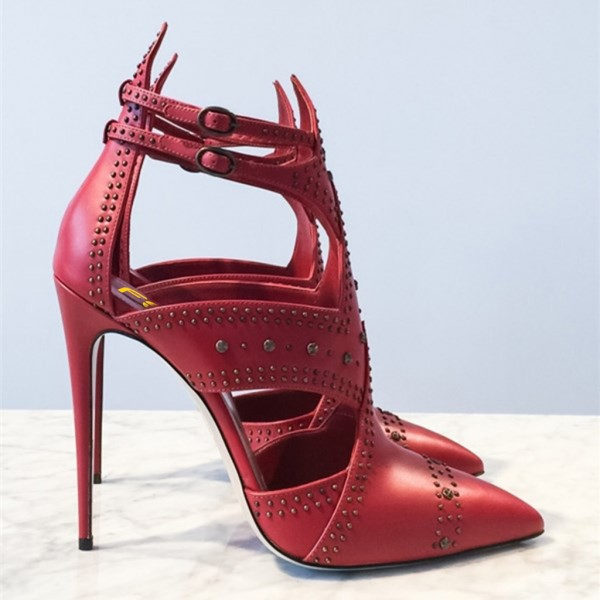 Red Studs Shoes Cut out Pointy Toe Stiletto Heel Pumps image 2