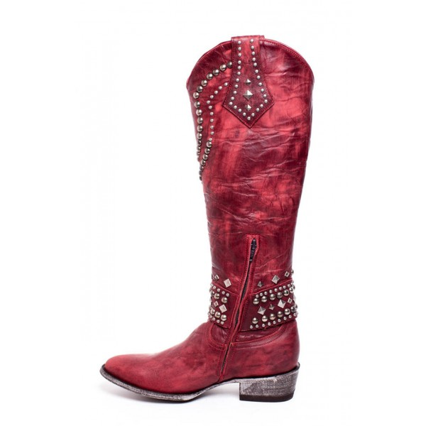 Red Studs Cowgirl Boots Block Heel Knee High Boots image 2