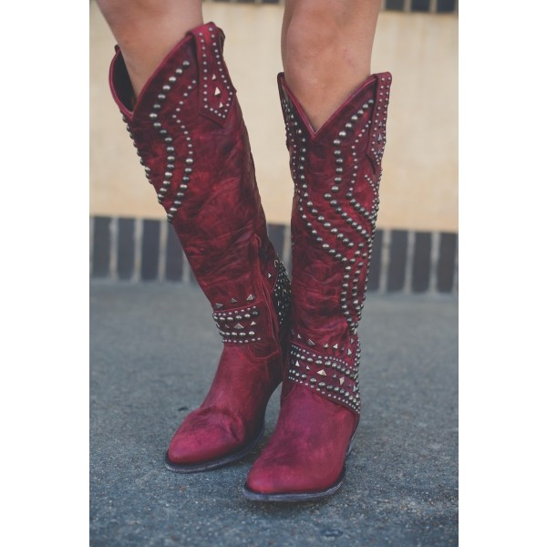 Red Studs Cowgirl Boots Block Heel Knee High Boots image 3