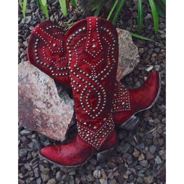 Red Studs Cowgirl Boots Block Heel Knee High Boots image 4