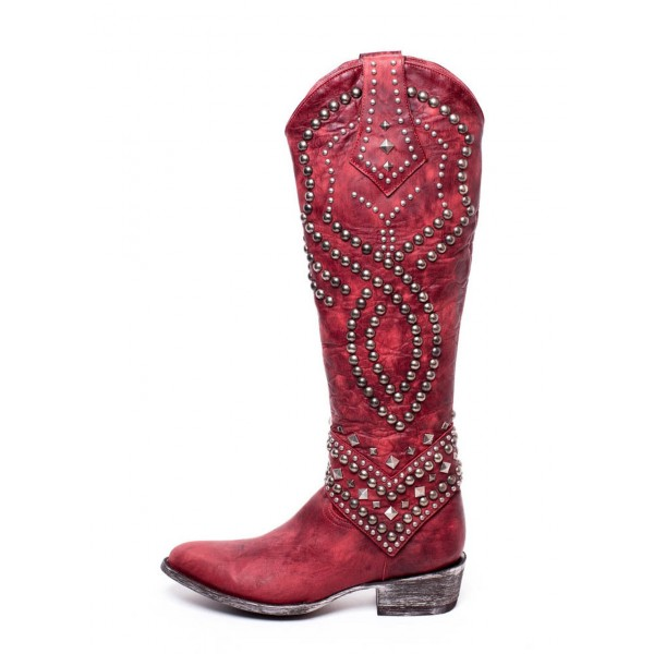 Red Studs Cowgirl Boots Block Heel Knee High Boots image 6