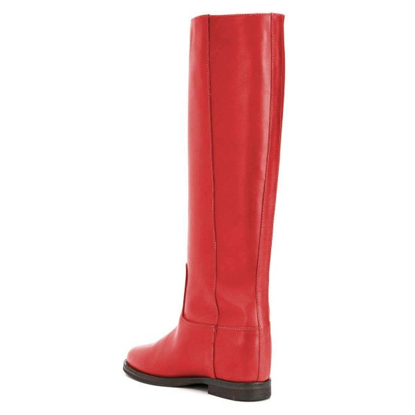 Red Studs Flat Long Boots Knee High