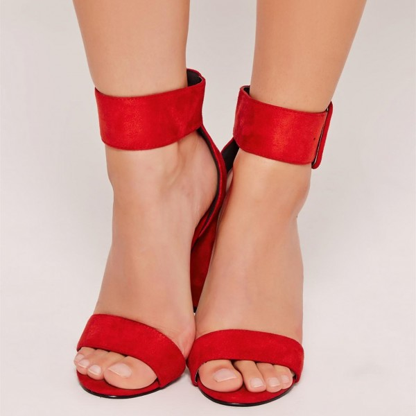 Red Suede Open Toe Chunky Heels Buckle Ankle Strap Sandals image 3