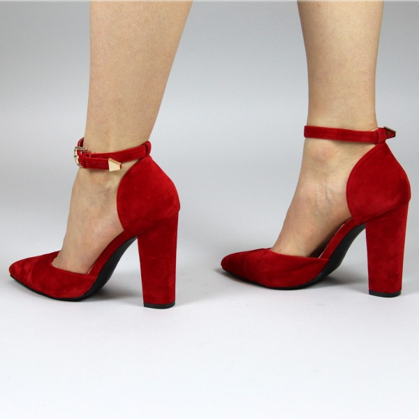 Women's Red Ankle Strap Heels Suede Pointy Toe Chunky Heel Pumps image 4