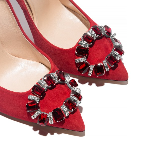 Red Prom Shoes Rhinestone Pointy Toe Stiletto Heel Pumps image 3