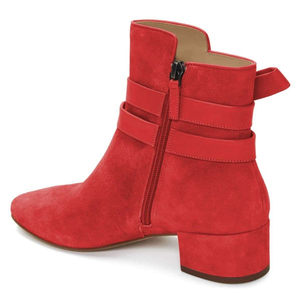 Red Suede Boots Bow Chunky Heel Ankle Boots image 2