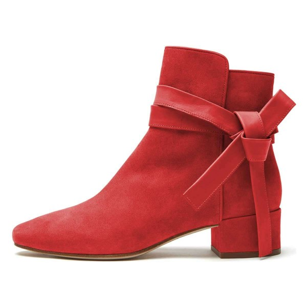 Red Suede Boots Bow Chunky Heel Ankle Boots image 3