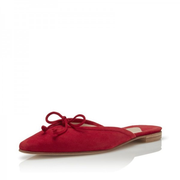 Red Suede Bow Flat Mule  image 1