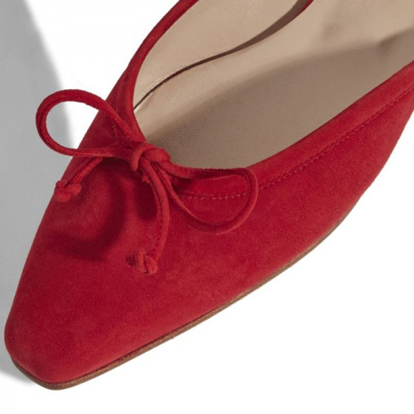 Red Suede Bow Flat Mule  image 3