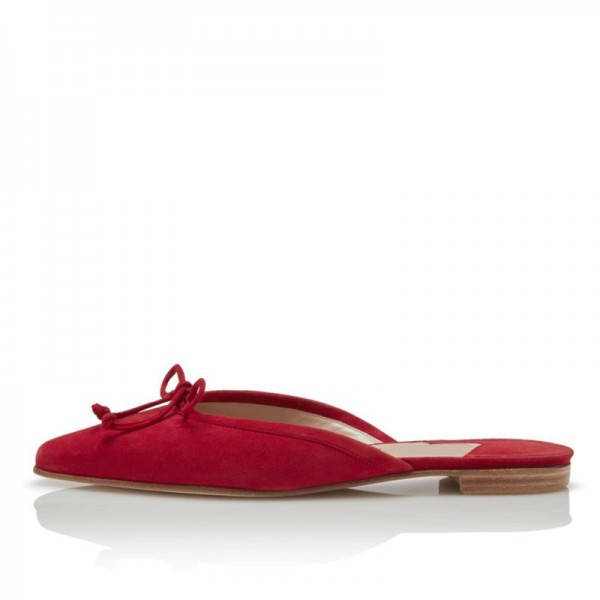 Red Suede Bow Flat Mule  image 4