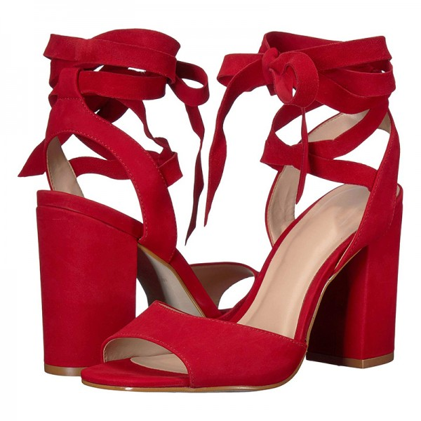 176605970f Red Suede Chunky Heel Strappy Sandals for Party, Music festival ...