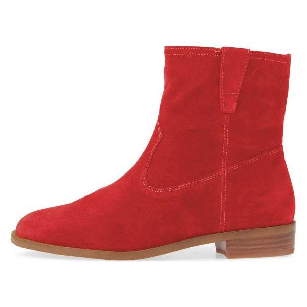 Red Suede Flat Ankle Booties image 2