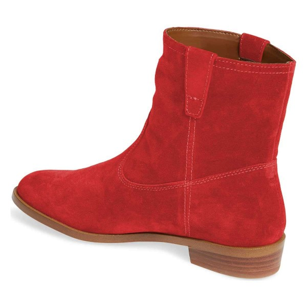 Red Suede Flat Ankle Booties image 4