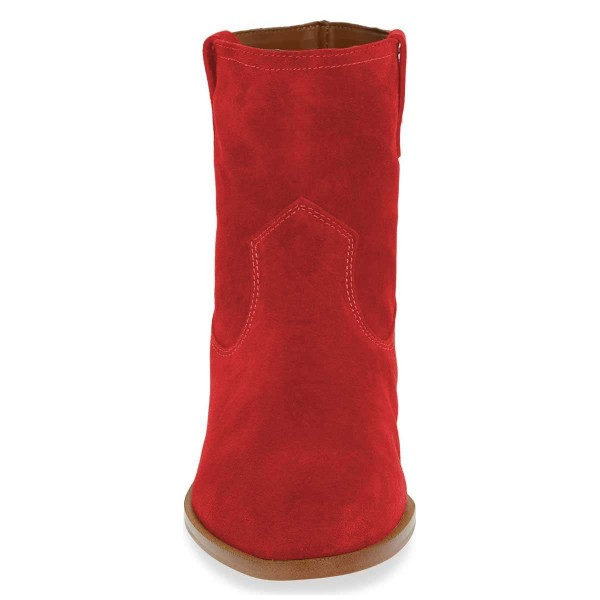 Red Suede Flat Ankle Booties image 3
