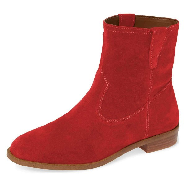 Red Suede Flat Ankle Booties image 1