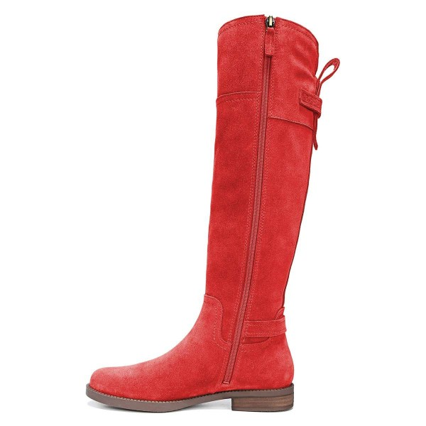 Red Suede Flat Knee Boots Knee High Boots image 4