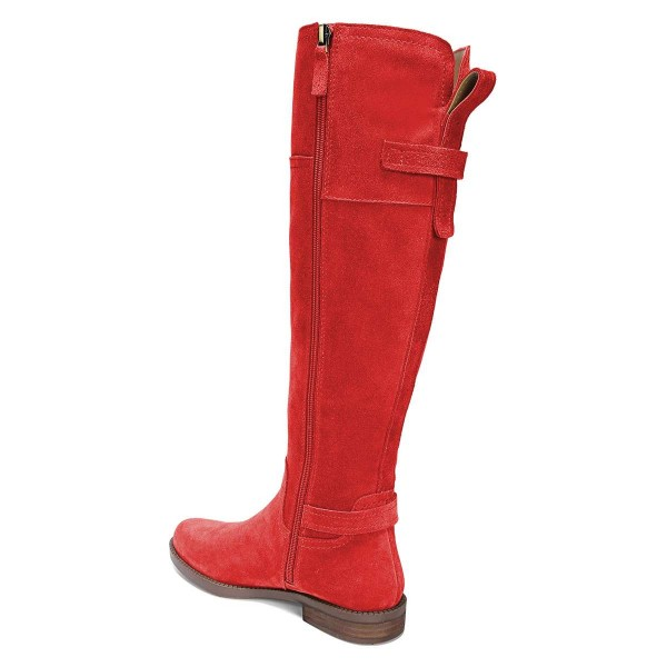 Red Suede Flat Knee Boots Knee High Boots image 3