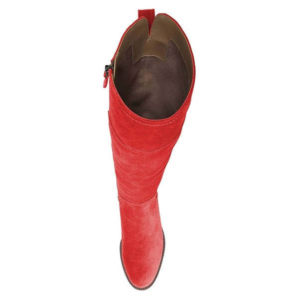 Red Suede Flat Knee Boots Knee High Boots image 2