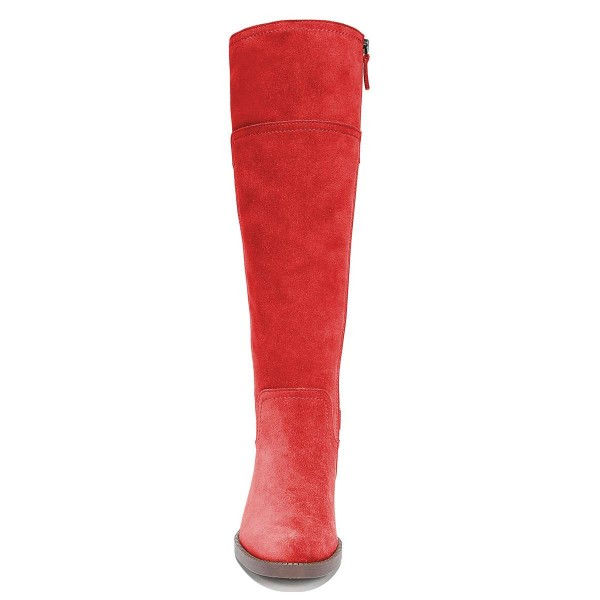 Red Suede Flat Knee Boots Knee High Boots image 5