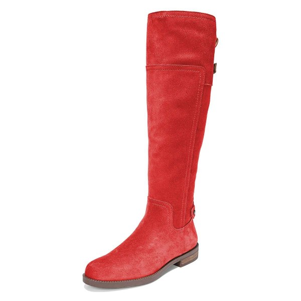 cf2dec496eb Red Suede Flat Knee Boots Knee High Boots image 1 ...