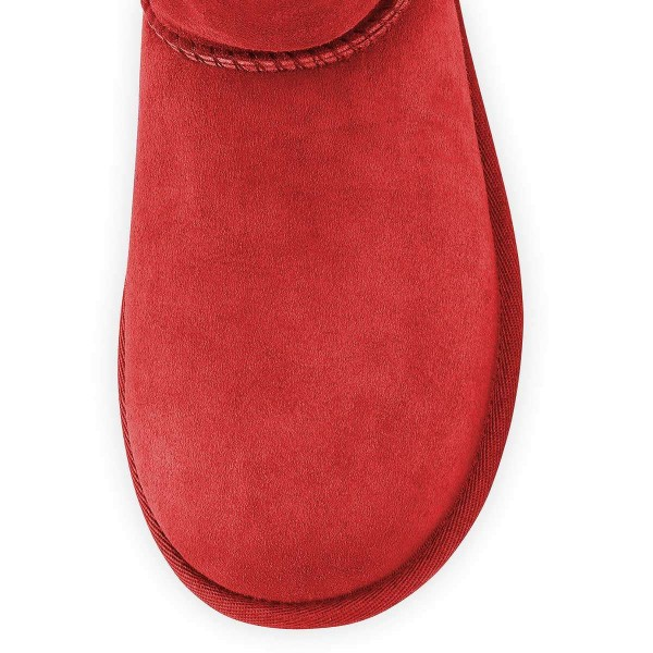 Red Suede Flat Winter Boots image 3