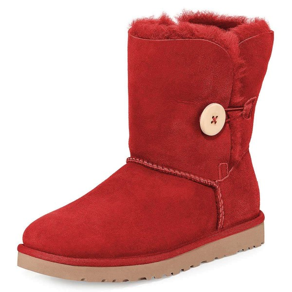 Red Suede Flat Winter Boots image 1