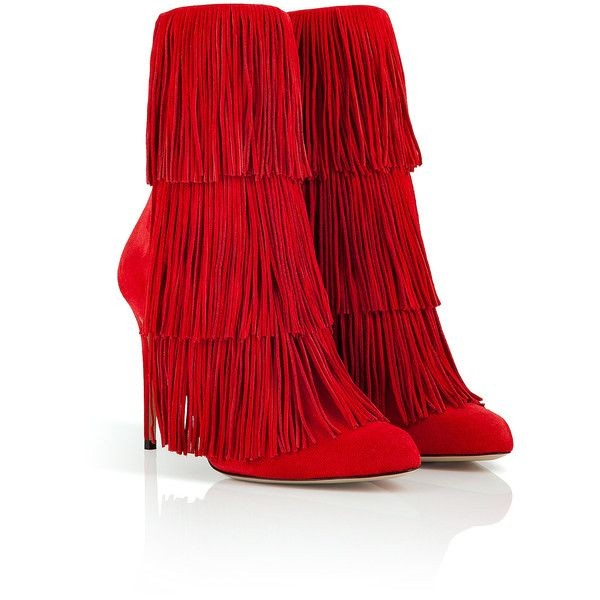 Red Fringe Boots Suede Stiletto Heels Fashion Ankle Booties image 2