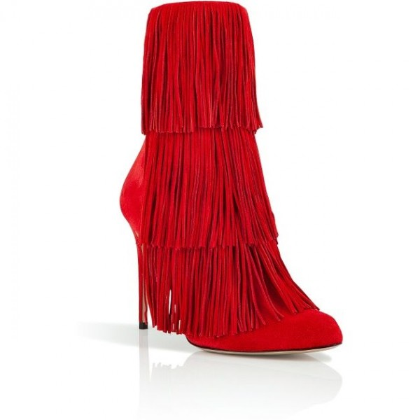 Red Fringe Boots Suede Stiletto Heels Fashion Ankle Booties image 4