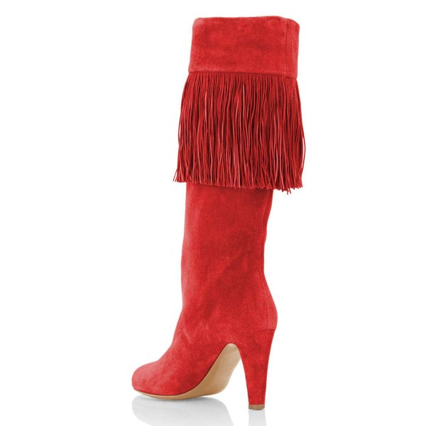Red Suede Fringe Chunky Heel Boots Knee-high Boots image 4