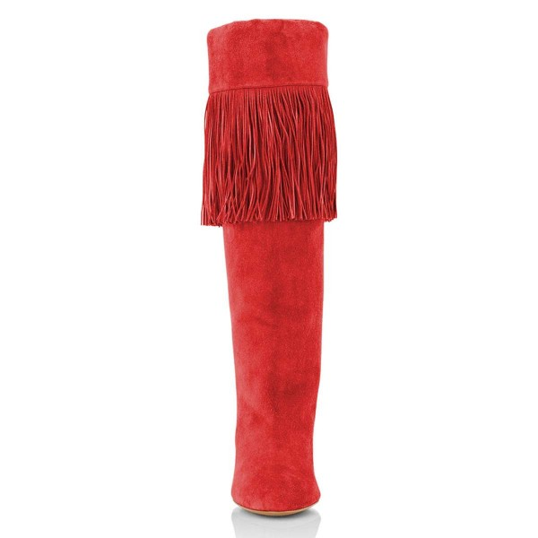 Red Suede Fringe Chunky Heel Boots Knee-high Boots image 2
