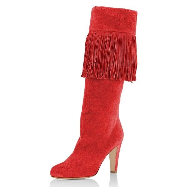 Red Suede Fringe Chunky Heel Boots Knee-high Boots image 1