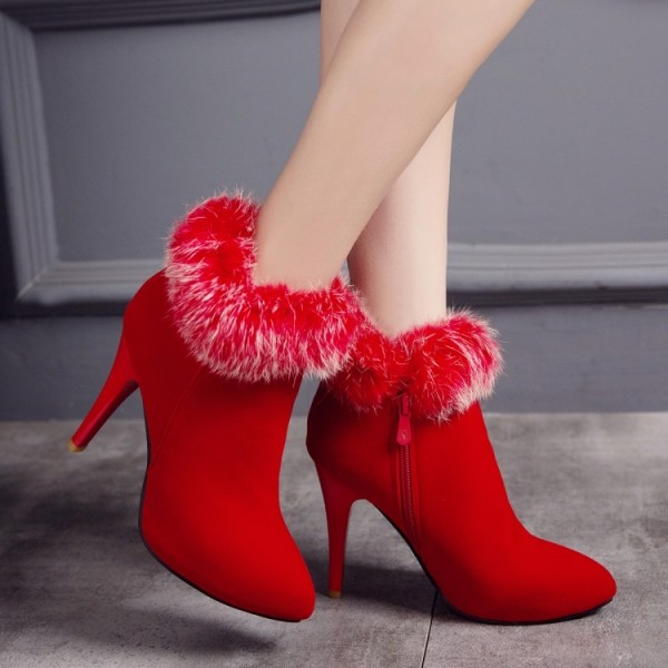Red Furry Stiletto Heel Ankle Booties image 2