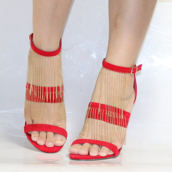 Coral Red Suede Golden Fringe Open Toe Ankle Strap Sandals for Cocktail Party  image 4