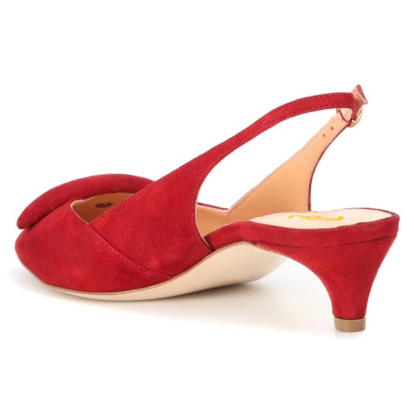 Red Suede Kitten Heel Slingback Pumps image 3