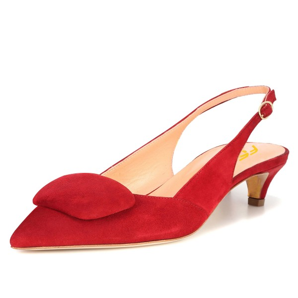 Red Suede Kitten Heel Slingback Pumps image 4