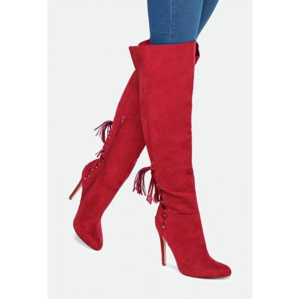 Women's 4 Inch Heels Red Stiletto Boots Knee-high Boots by FSJ Shoes image 5