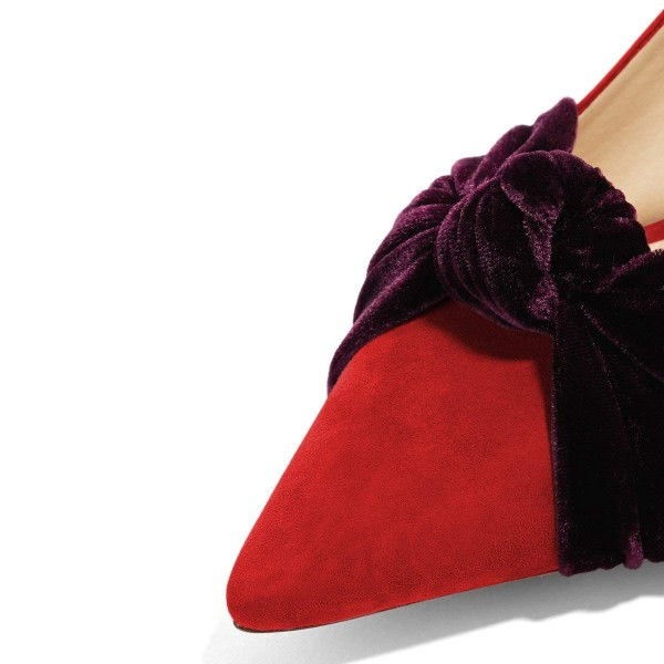 Red Suede Knot Pointy Toe Kitten Heels Pumps for Women image 3