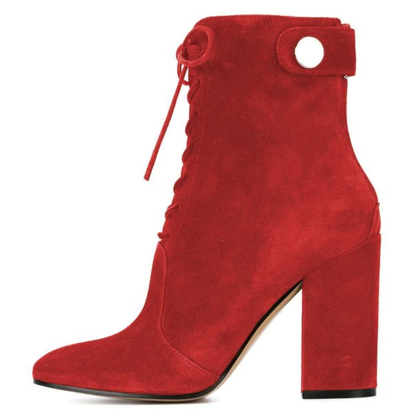 Red Suede Lace up Boots Chunky Heel Ankle Booties image 3