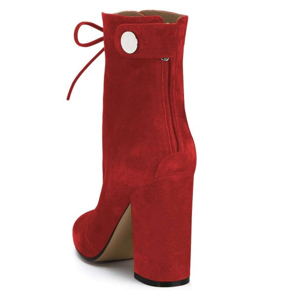 Red Suede Lace up Boots Chunky Heel Ankle Booties image 2