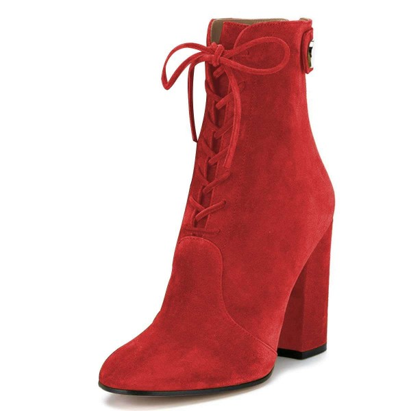 Red Suede Lace up Boots Chunky Heel Ankle Booties image 1
