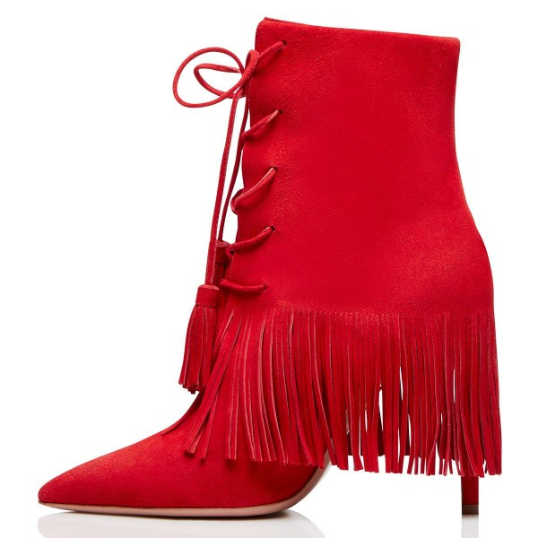Red Suede Lace Up Fringe Boots Stiletto Heel Ankle Boots image 3