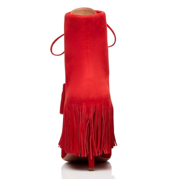 Red Suede Lace Up Fringe Boots Stiletto Heel Ankle Boots image 2
