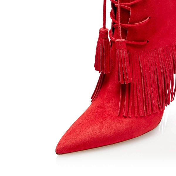 Red Suede Lace Up Fringe Boots Stiletto Heel Ankle Boots image 4