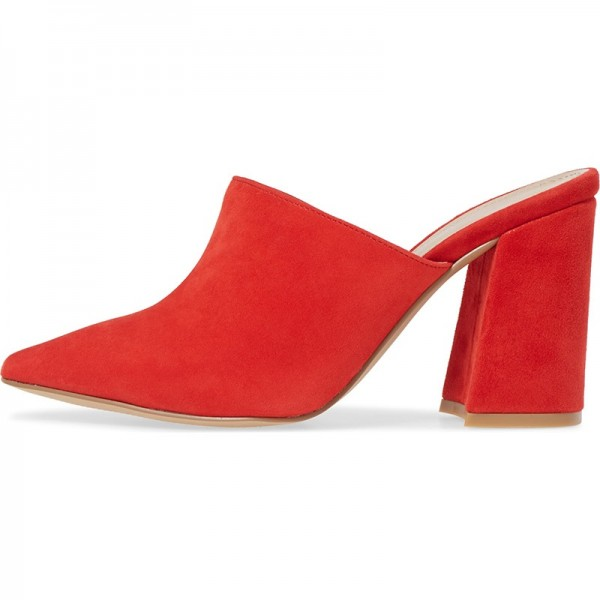 Red Suede Loafer Mules Pointed Toe Chunky Heel Mule image 2