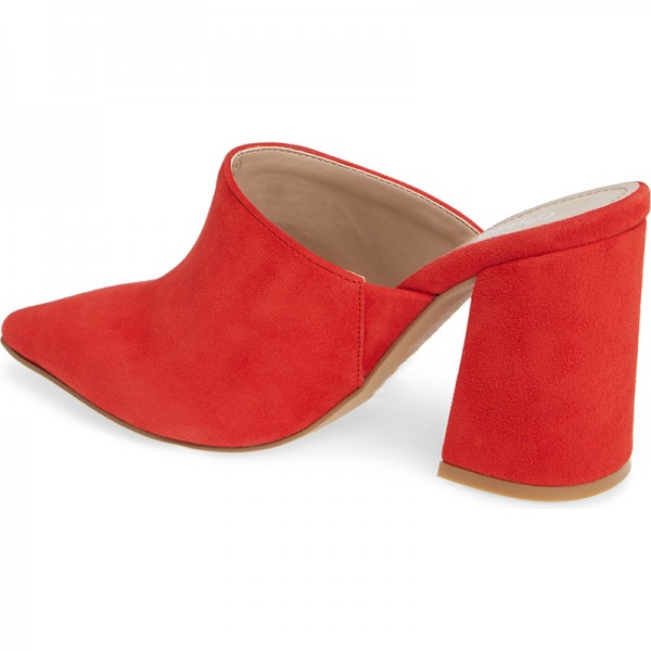 Red Suede Loafer Mules Pointed Toe Chunky Heel Mule image 3